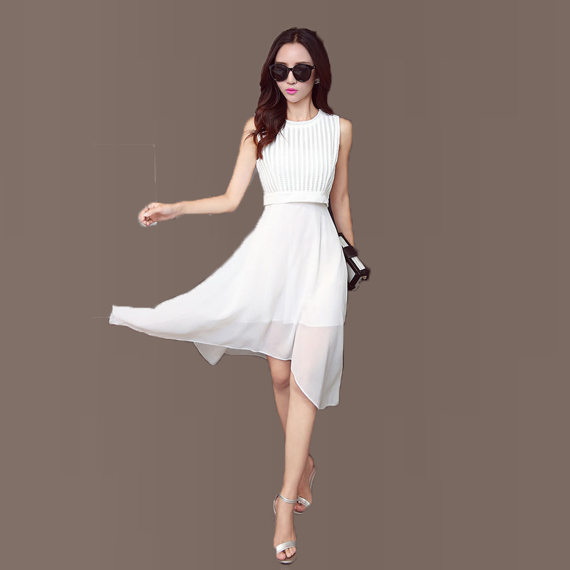 Business Casual Clothes Woman One Piece Dress Black White Dresses Office Ladies Irregular Dress Knit Joint Chiffon Design Summer(China (Mainland))