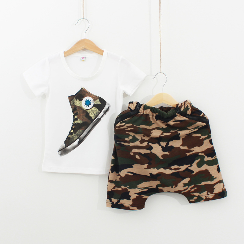 Retail New Baby Boys Camouflage Soldier Green Clothing Set Short Sleeve T Shirt + Short Kids Summer Clothes Children Outwerewear(China (Mainland))