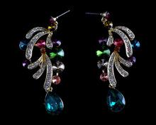 Elegant Lady's crystal Drop Earrings colorful fashion party earrings rhinestone women's drop water earrings for gift jewelry
