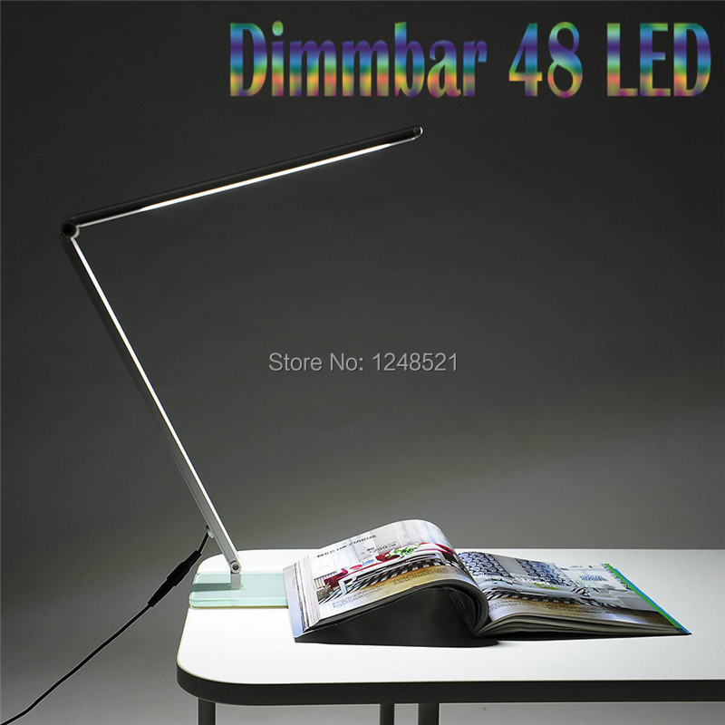 2015 hot sell led desk lamp 10w 48smd dimmable table light Foldable Metal Glass Base Power Night Vision Reading lighting(China (Mainland))