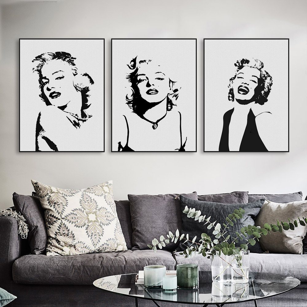 original watercolor marilyn monroe portrait pop vintage. Black Bedroom Furniture Sets. Home Design Ideas