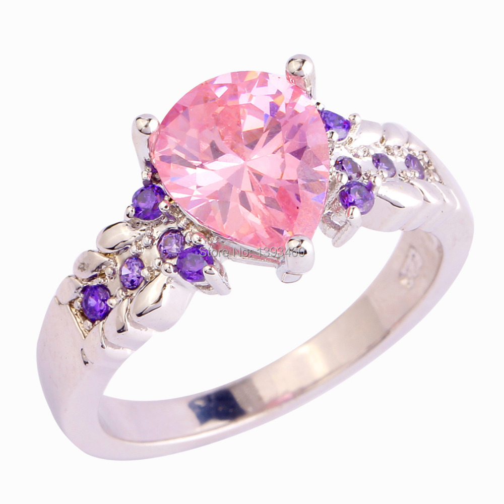 New Fashion Pink Topaz Silver Ring Size 8 Pretty Inexpensive Pear Cut Jewelry Gift Women - WEILING Co.,Ltd 2014 store
