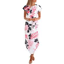 Фантазийное осеннее платье женское богемное платье средней длины с цветочным принтом и круглым вырезом с поясом с коротким рукавом повседн...(China)