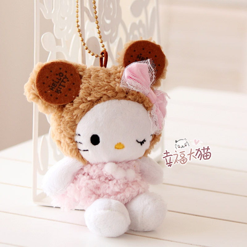 Free shipping HELLO KITTY biscuit kitty plush keychain toy pendant cell phone 15cm(China (Mainland))