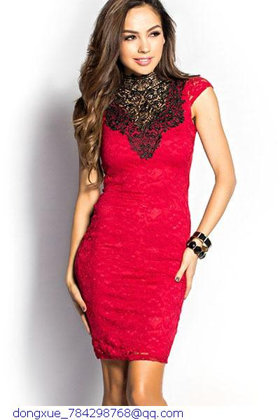 Retro Sexy Club Dress Party 2015 Summer Clothes For Women Black/Red High Neck Open Back Embroidery Lace Vintage Dresses LC21873(China (Mainland))