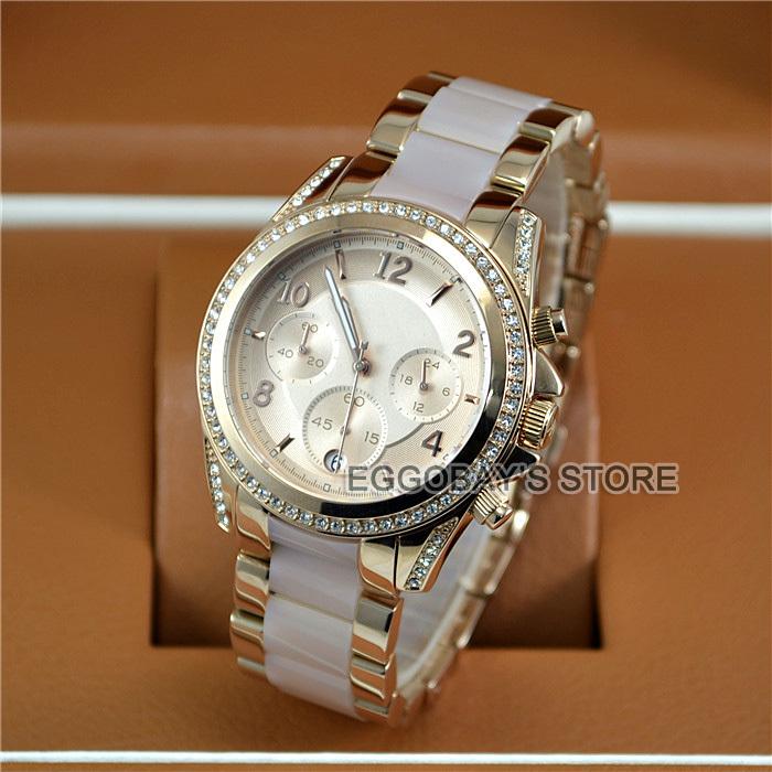 Free shipping Women's Chronograph Blair Blush Rose Gold-Tone Crystal Resin Band Ladies Watch 5943(China (Mainland))