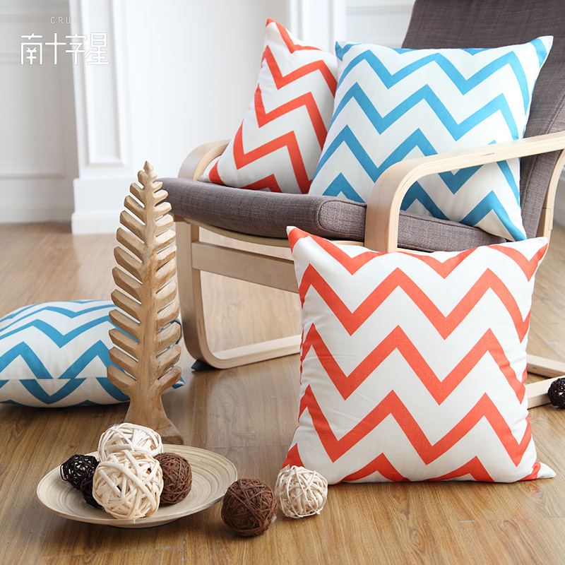 3 pics/lot Modern brief fluid at home pillow kaozhen sofa car cushion geometry color block(China (Mainland))