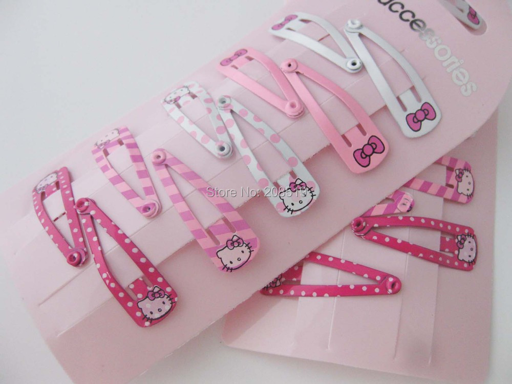 HJ0093 6cards mixed patterns randomly (10pcs/card) 32mm Hello Kitty&bowtie small hairpins for baby hair children girl hair clips(China (Mainland))