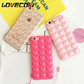 LOVECOM Korean Love Heart Jelly Candy Soft Silicon TPU Back Cover With Lanyard Phone Case For