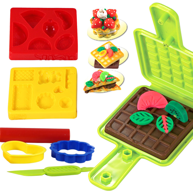 Learning & education Creative 3d color clay mould set, plasticine/mud tools combination Wafer mold(mud without) free shipping(China (Mainland))