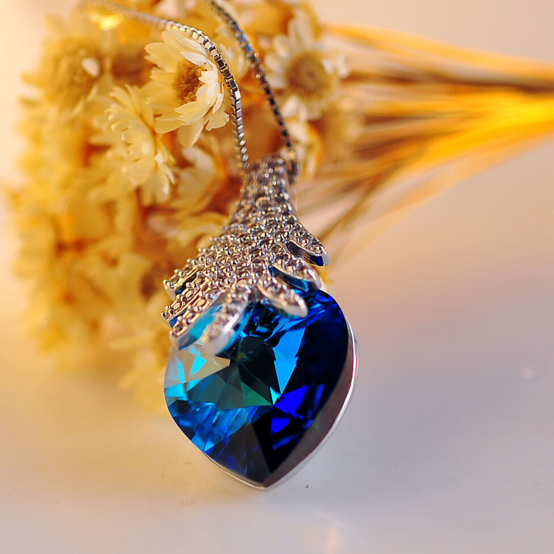 925 sterling silver Crystal female forest Rhapsody Ocean heart pendant features high end jewelry wholesale marketing(China (Mainland))