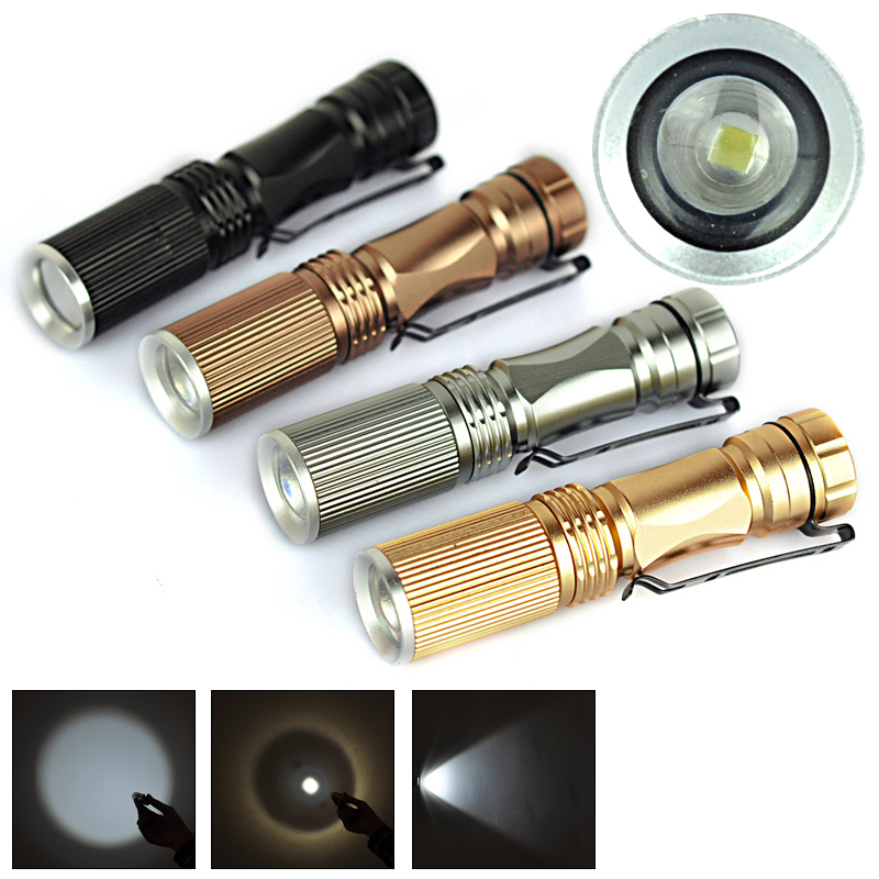 Black Golden Silver Copper LED Flashlight Torch Led Flash Light 160LM 3modes Outdoor Nightlight Sporlight Zoomable Light Lamp(China (Mainland))