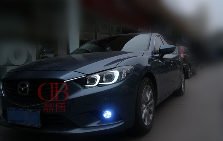 Auto Clud headlights For Mazda 6 Atenza 2014-15 LED light bar DRL D2H xenon mazda 6 headlamps Q5 bi xenon len parking car stylin