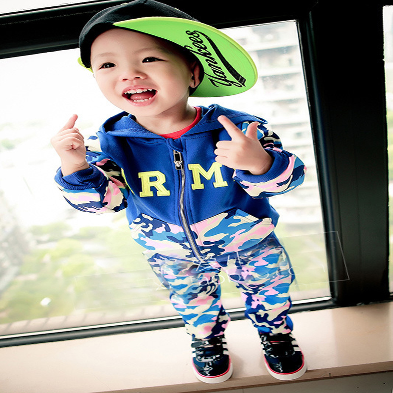 Camouflage Baby Set 2015 Army Print Boy Hoodies Pants Autumn Child Sports Wear Cotton Korean Long Sleeve - Buyworld Store store