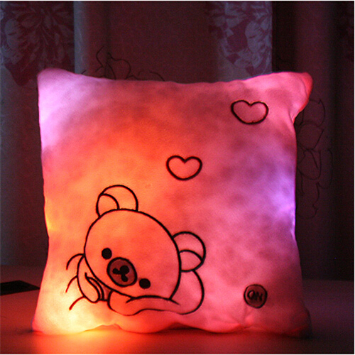 Factory wholesale Colorful flash light emitting pillow square pillow cushions lovers gift(China (Mainland))
