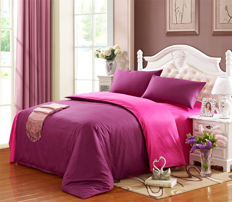 100 cotton full size bedding set 4 piece purple in bedding sets from home garden on. Black Bedroom Furniture Sets. Home Design Ideas