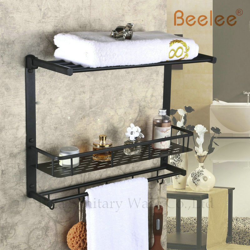 Beelee BL8501B Oil Rubbed Bronze Storage Holder Wall Mount Bath Shelf With Towel Bar Dual Tiers Bathroom Accessories(China (Mainland))