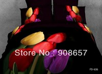 cotton bed linen yellow purple red tulip flower girl's bedding set 3D bed sheets home textile quilt/duvet covers full comforter