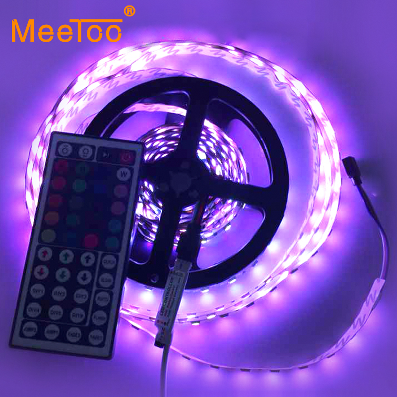 2015 Newest Led Strip 60LED/M 300LED Epistar SMD 5050 RGB Lamps DC12V Non-Waterproof 44key IR Remoter flexible light 5M/Roll(China (Mainland))