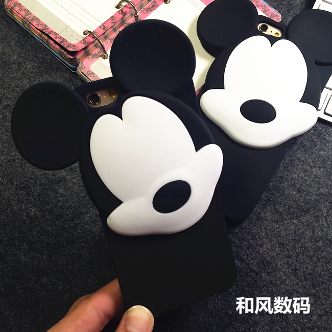 cute cartoon 3D mouse head silicone soft phone cases apple iphone 6 plus 5.5 inch 6g 4.7 / 5 5g 5s case cover - Crazy store
