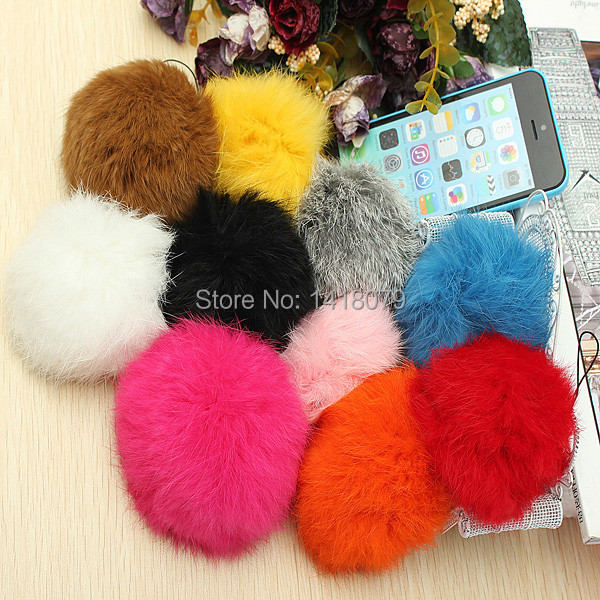 1Pcs 8cm Soft Artificial Fur Ball Cellphone Charm Bag Car Mobile Phone Pendant Keychain Ring DIY Decoration Colorful(China (Mainland))