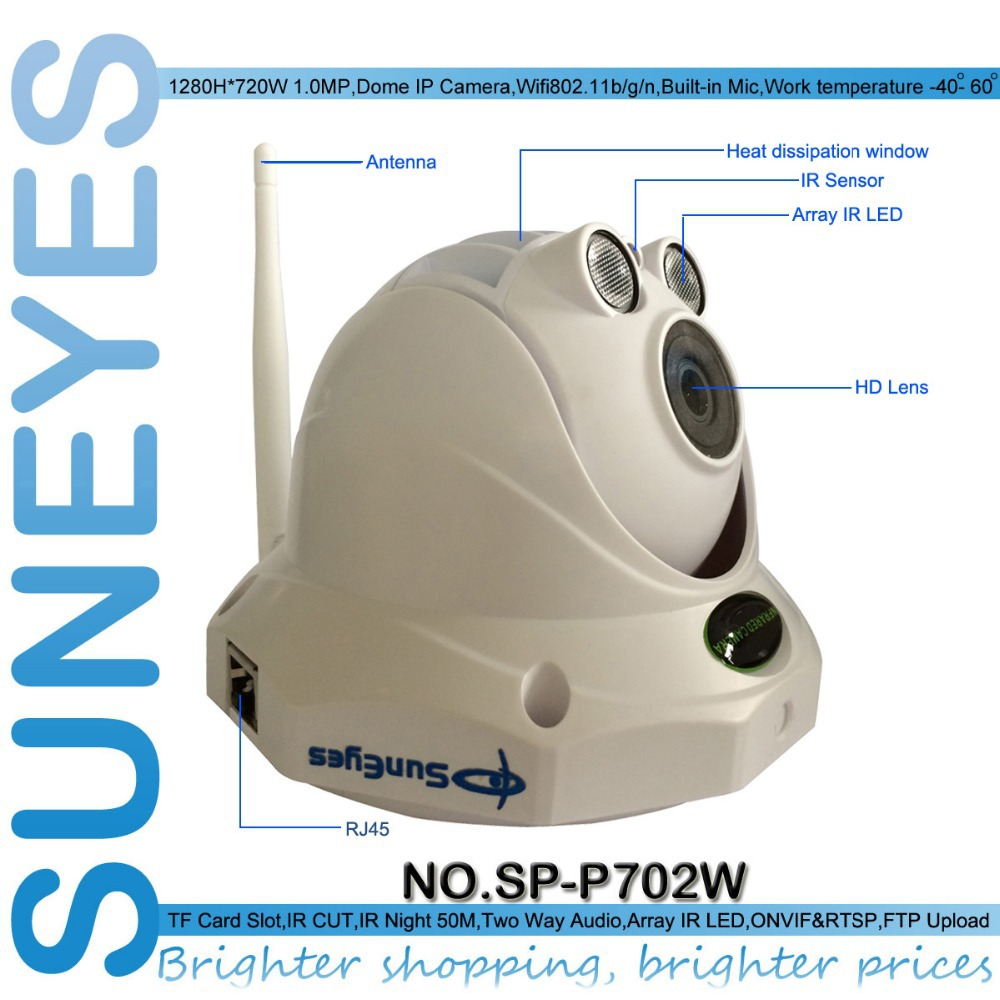 SunEyes SP-P702W Wifi Wireless Dome IP Camera ONVIF 720P HD with TF/Micro SD Card Slot Two Way Audio Array IR Project Quality(China (Mainland))