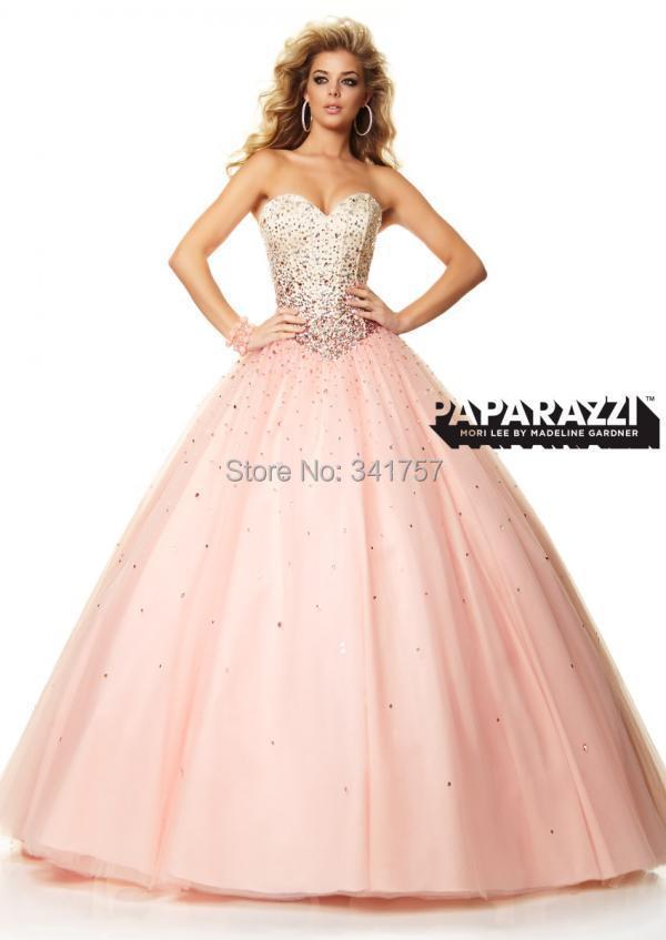 Baby Pink Prom Dresses Ball Gown 2015 Vestidos Para Festa Peacock Beaded Crystals Long Party Organza Custom Made EL918 - Full Romantic Wedding store