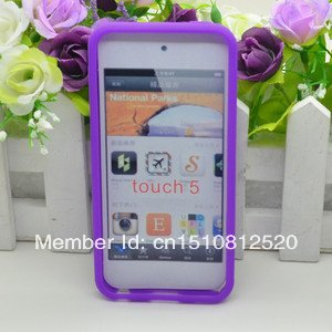 Free Shipping 1PC Purple Silicone Case Cover Skin For Apple Ipod Touch 5 Itouch 5 5G New Y518 eQWs(China (Mainland))