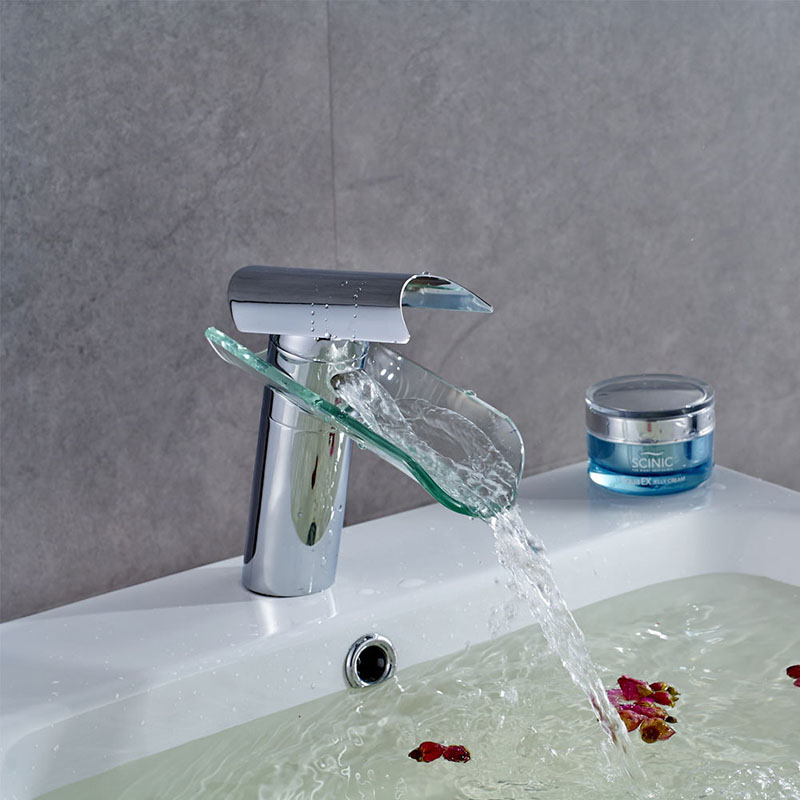 Glass Bathroom Faucets : New Glass Bathroom Faucet Waterfall Mixer One Hole/Handle Basin Sink ...