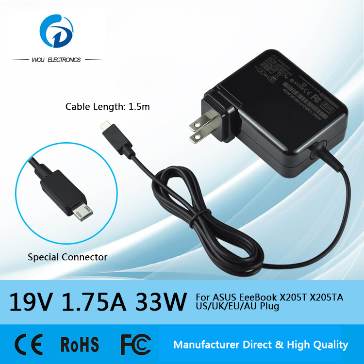 19V 1.75A 33W AC Laptop Power Adapter Charger for Asus EeeBook X205T X205TA US/UK/EU/AU Plug New Invented Adapter(China (Mainland))