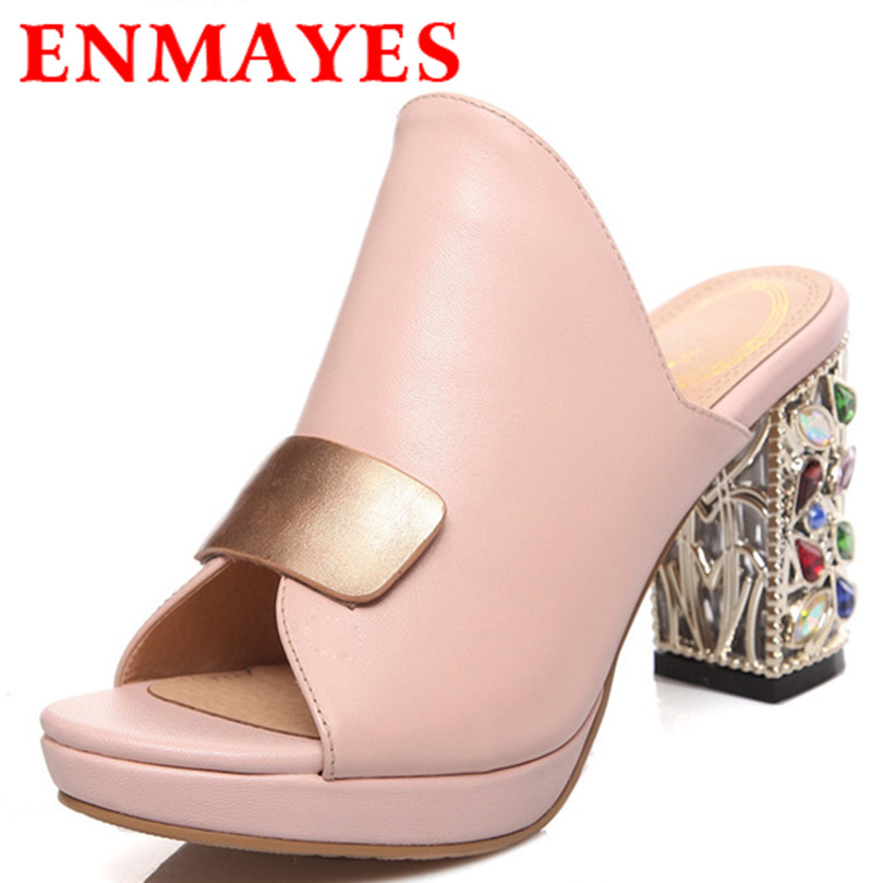 ENMAYES Fashion Women Rhinestone Suqare Heel Slides Shoes Slip High Platform Leisure 2 Colors Sandals - ENMAYDA store