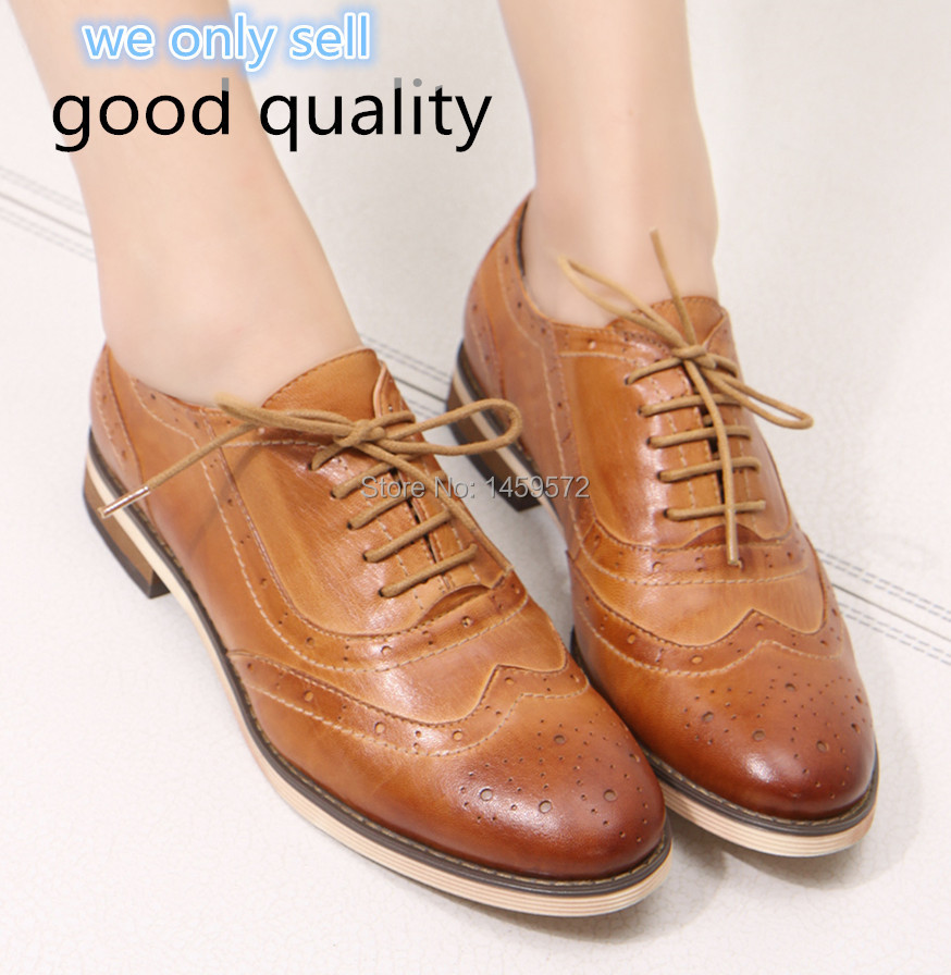 Women shoes Genuine leather bullock women flats shoes for lady Brogues Leisure women Oxford shoes women lace-up shoes A068-1(China (Mainland))