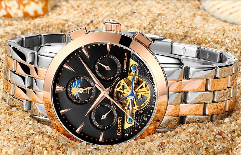 2016 новый Швейцария Бингер человек часы Черный дейл бизнес автоматические часы Высокого качества Стальной ленты мужчины Наручные часы Moon Phase