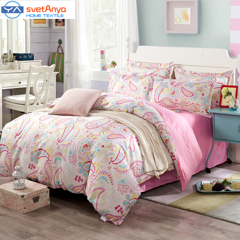 Svetanya Bohemia Bedding Sets 100 Cotton Pink Color Duvet Cover set Twin full queen king Size(China (Mainland))