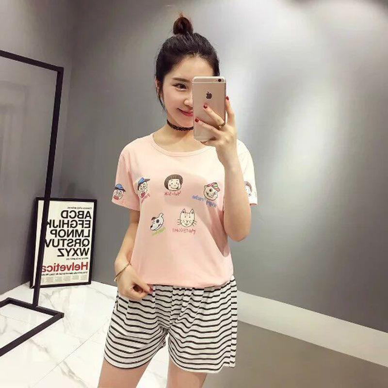 teens pijama verano cute korean cartoon clothes set 2016 summer nightshirt teenager girls Pyjama lounge jovens ropa P607(China (Mainland))