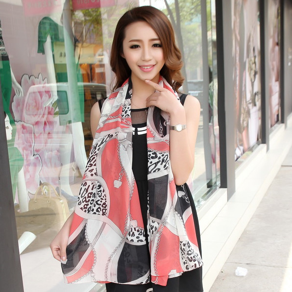 Spring and summer super smooth long design velvet chiffon silk scarf autumn and winter scarf sun cape chain pendant