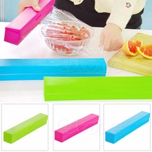 Free Shipping Plastic Kitchen Foil And Cling Film Wrap Dispenser Cutter Storage Holder 3 Color(China (Mainland))
