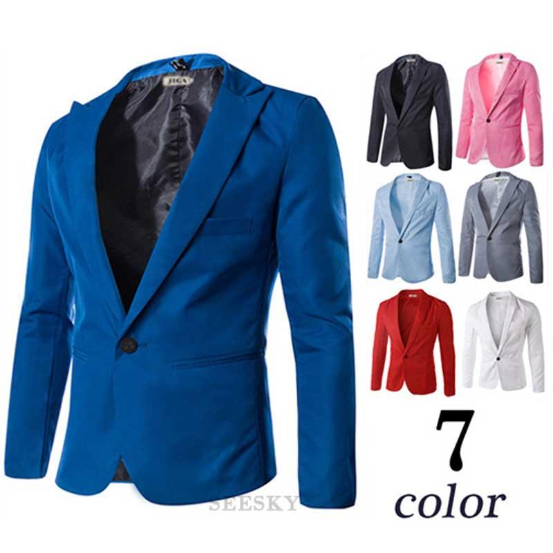 Nova Chegada Único Botão Blazers de Lazer Dos Homens Masculinos 2015 Moda Casual Slim Fit Suit Blazer Azul Marinho Vermelho Roupas Vestido M-3XL(China (Mainland))