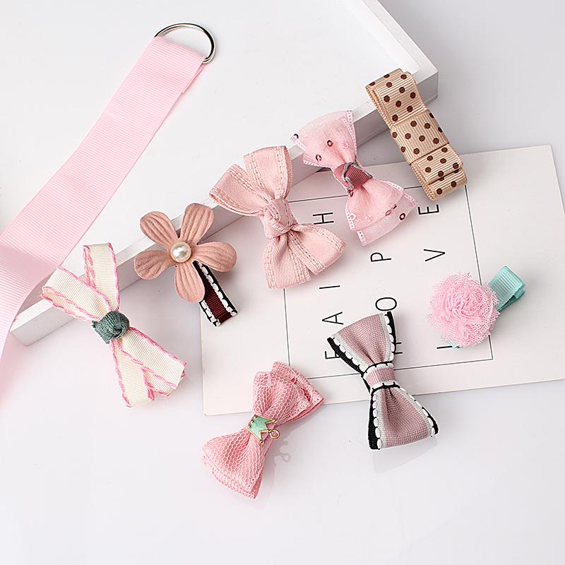 M MISM 1Set=8pcs Multi-style Ribbon Bow Flower Hairpins Hair Barrettes Children Accessories Cute Baby Girls Headwear Hair Clip(China (Mainland))