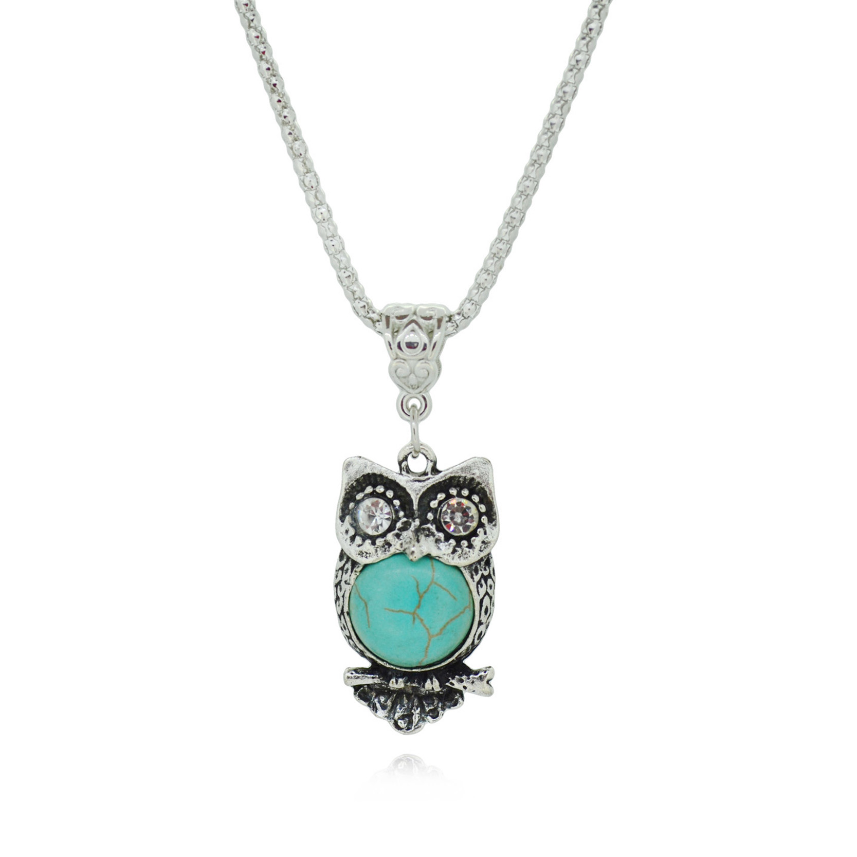 Special Owl Turquoise Necklaces Silver Pendant Accessories for Women Clothing Women's Vintage Style(China (Mainland))
