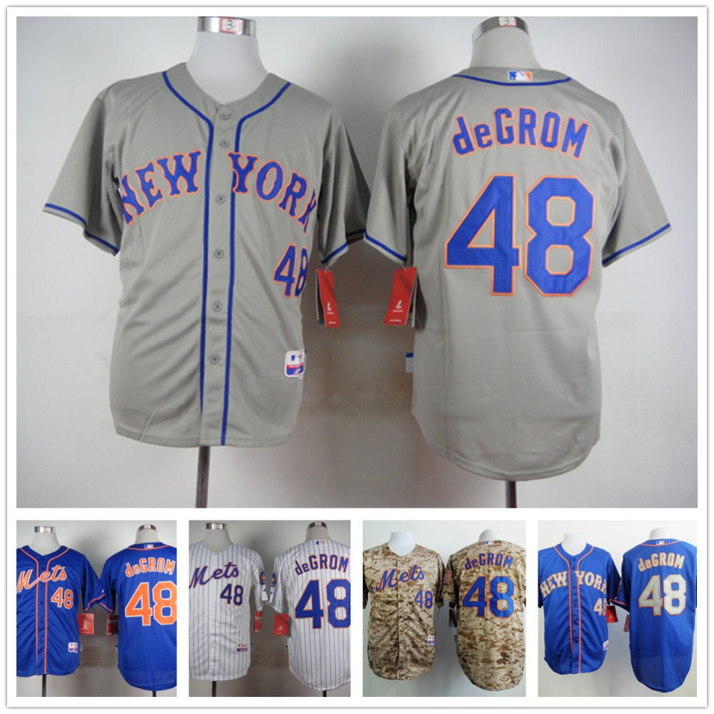 2015 New York Mets 48# Jacob deGrom Jersey Mr Mets Patch Baseball Shirt Cool Base Camo White Blue Orange Sports Dress(China (Mainland))