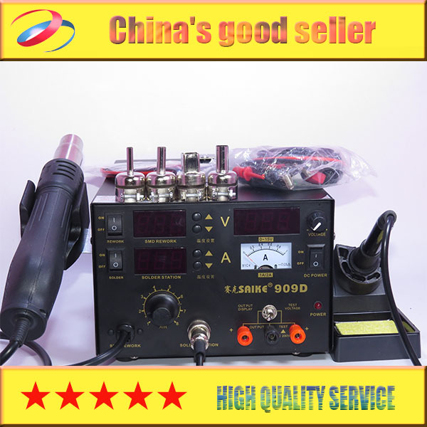 DHL shipping saike 909D 3 in 1 Hot air gun rework station Soldering station dc power supply(China (Mainland))