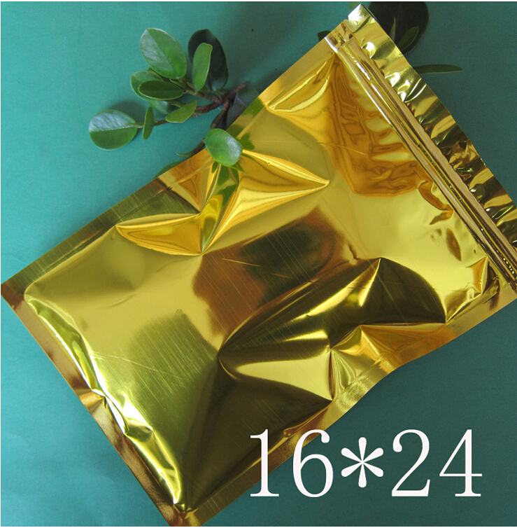 16*24CM gold Foil Zip pouch, Tea Storage , Bakery Packing bags , plastic bags(China (Mainland))