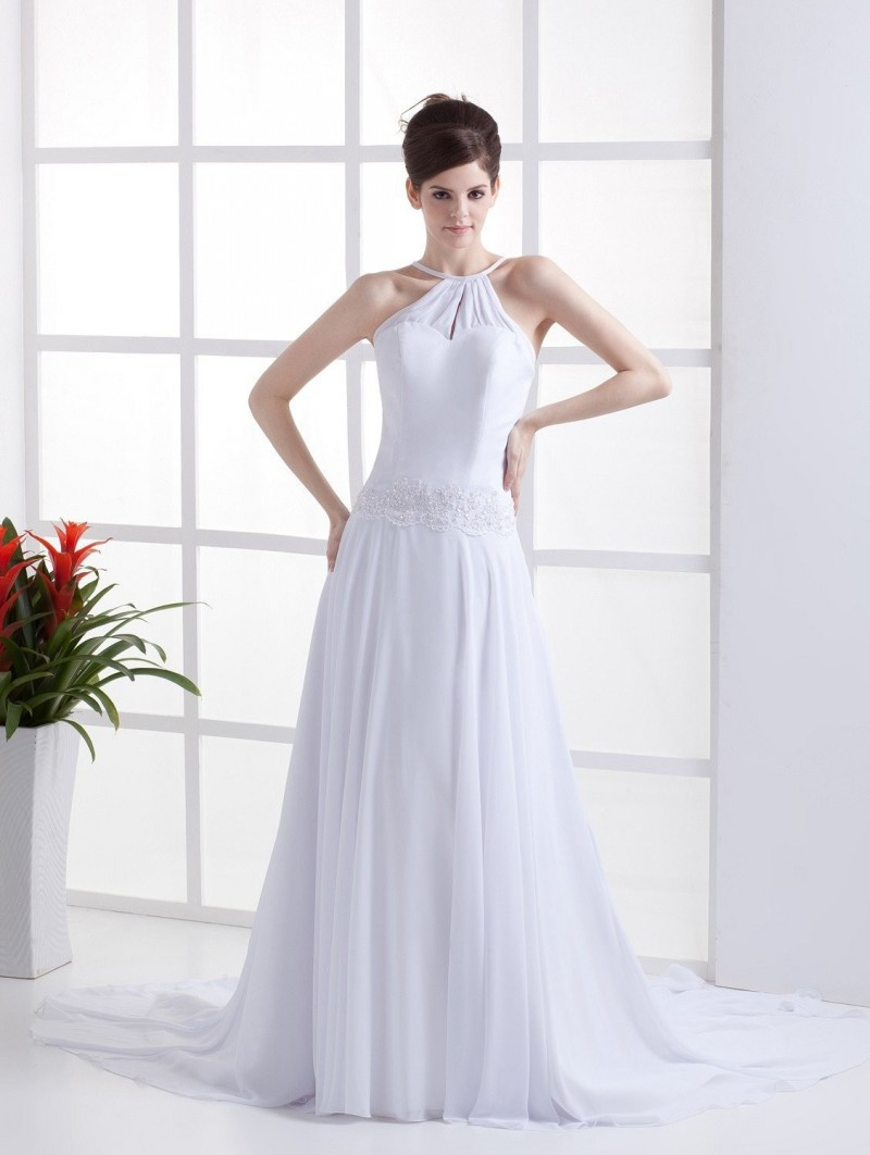 Romantic vintage a line wedding dresses chiffon short for Cheap chiffon wedding dresses