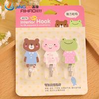 3 Pcs / Set , Strong Stick Hook Cute Meng Department Of Animal Hooks For Fashion Mascot Three Loading Door Hanger