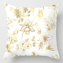 Fashion new golden leaf printing polyester pillowcase home decoration sofa seat cushion cover bedding wedding decoration pillow(China)