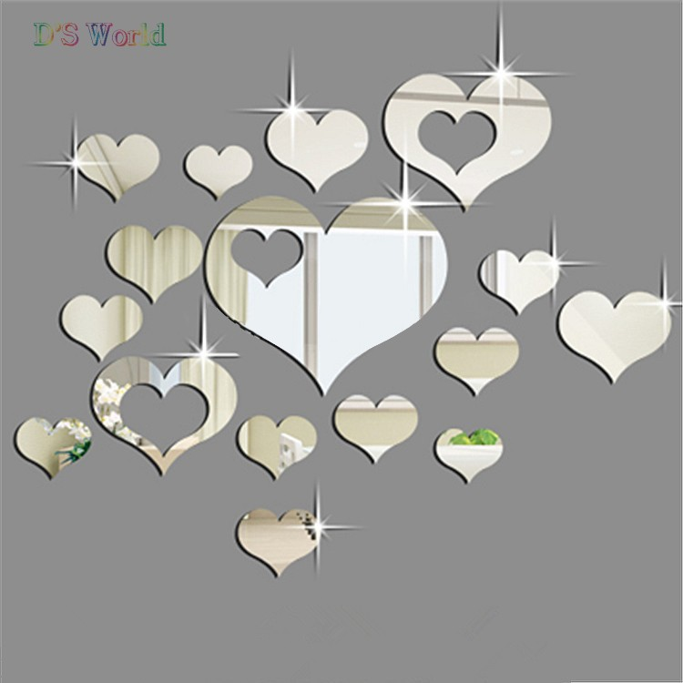 Hot 2015 Fashion 16PCS Silver Mirror Hearts Decoration DIY Plastic 3D Wall Stickers for home 29(China (Mainland))