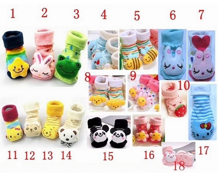 Baby Anti Slip Newborn 0-18Month Cotton Lovely Cute Shoes Animal Cartoon Slippers Boots Boy Girl Unisex Skid Rubber Sole Socks(China (Mainland))