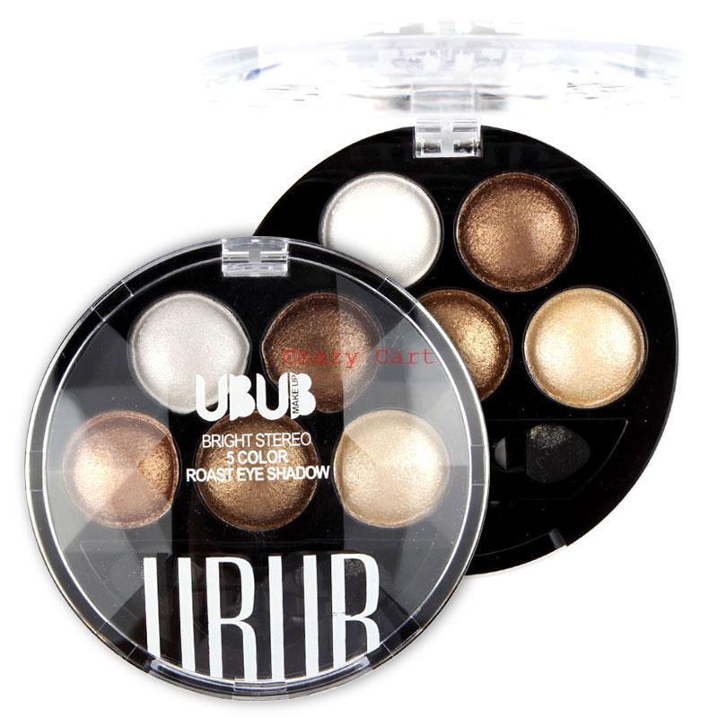 Pigment Eyeshadow 5 Colors Eye Shadow Powder Metallic Shimmer UBUB Warm Color 8807 - WOVJ Beauty Shop store