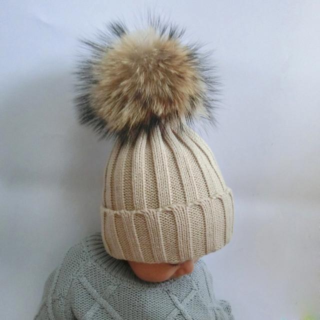 2016 Детей Способа Зима Енот Меховые Шапки 100% Настоящее 15 см Меховым помпоном Шапочки Шапка Натуральный Мех Шляпа Для Детей дети